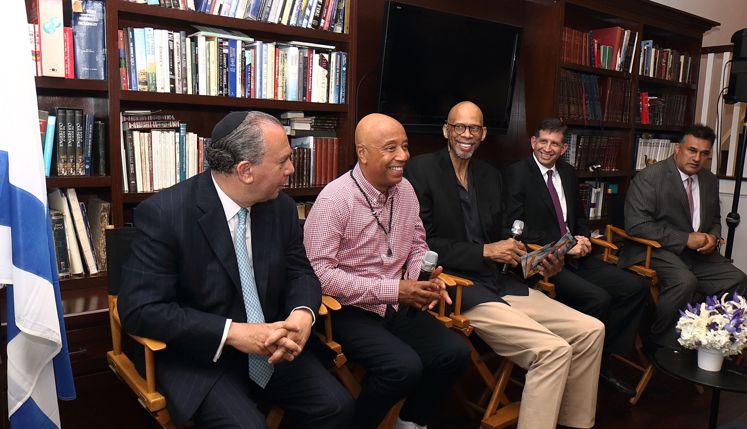 In the photo (Left To Right): Rabbi Marc Schneier (President - Foundation for Ethnic Understanding), Russell Simmons (Chairman - Foundation for Ethnic Understanding), Kareem Abdul-Jabbar, Consul General Sam Grundwerg, Mahomed Akbar Khan (Muslim community activist). (Photo credit: Michelle Mivzari)