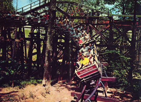 The Dahlonega Mine Train was one of two roller coasters to open at Six Flags Over Georgia in 1967. The coaster still runs today at the park, just outside of Atlanta. Generations of families have spent countless hours and created memories together while riding this classic coaster. (Photo: Six Flags Over Georgia)