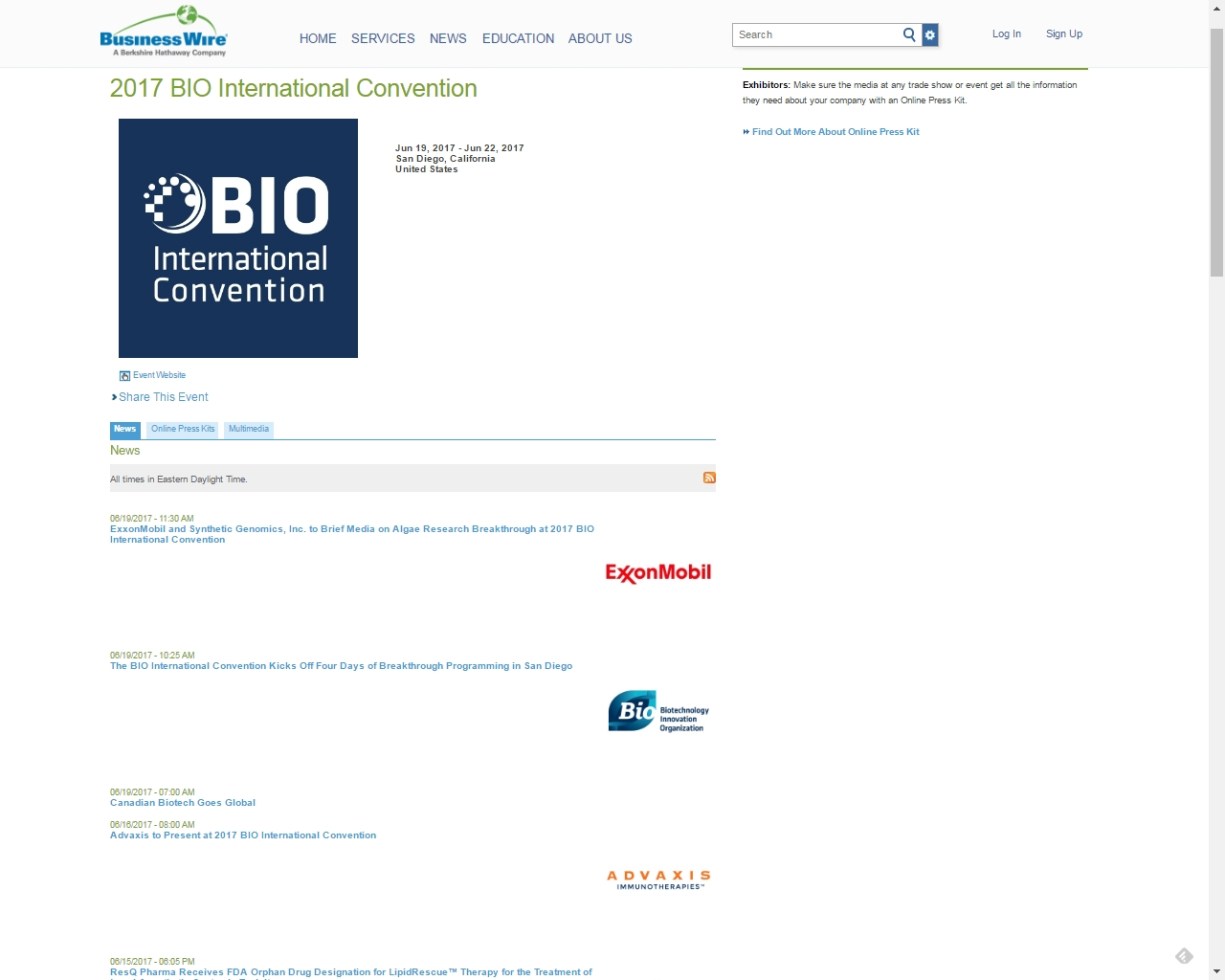 Business Wire will be making breaking 2017 BIO International Convention exhibitor news releases available at www.tradeshownews.com. (Graphic: Business Wire)