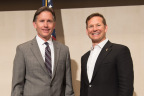 LegalShield honored Oklahoma Attorney General Mike Hunter, shown here with LegalShield CEO Jeff Bell, at a community event at the company's headquarters in Ada (Photo: Business Wire)