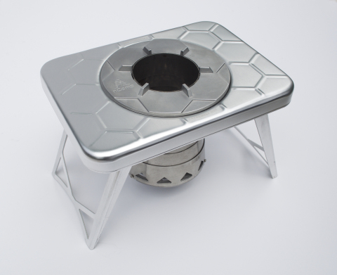 Weighing under 1½ pounds (.68 kilograms), the nCamp stove is about the size of a paperback book when collapsed, reducing backpack bulk. Because it burns readily available twigs and other forest combustible materials, the eco-friendly nCamp stove eliminates packaging and trash associated with propane or canned fuel. (Photo: Business Wire)