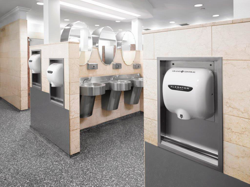 XLERATOR Hand Dryers replaced paper towels throughout the public and office spaces of Grand Central Terminal (Photo: Business Wire)