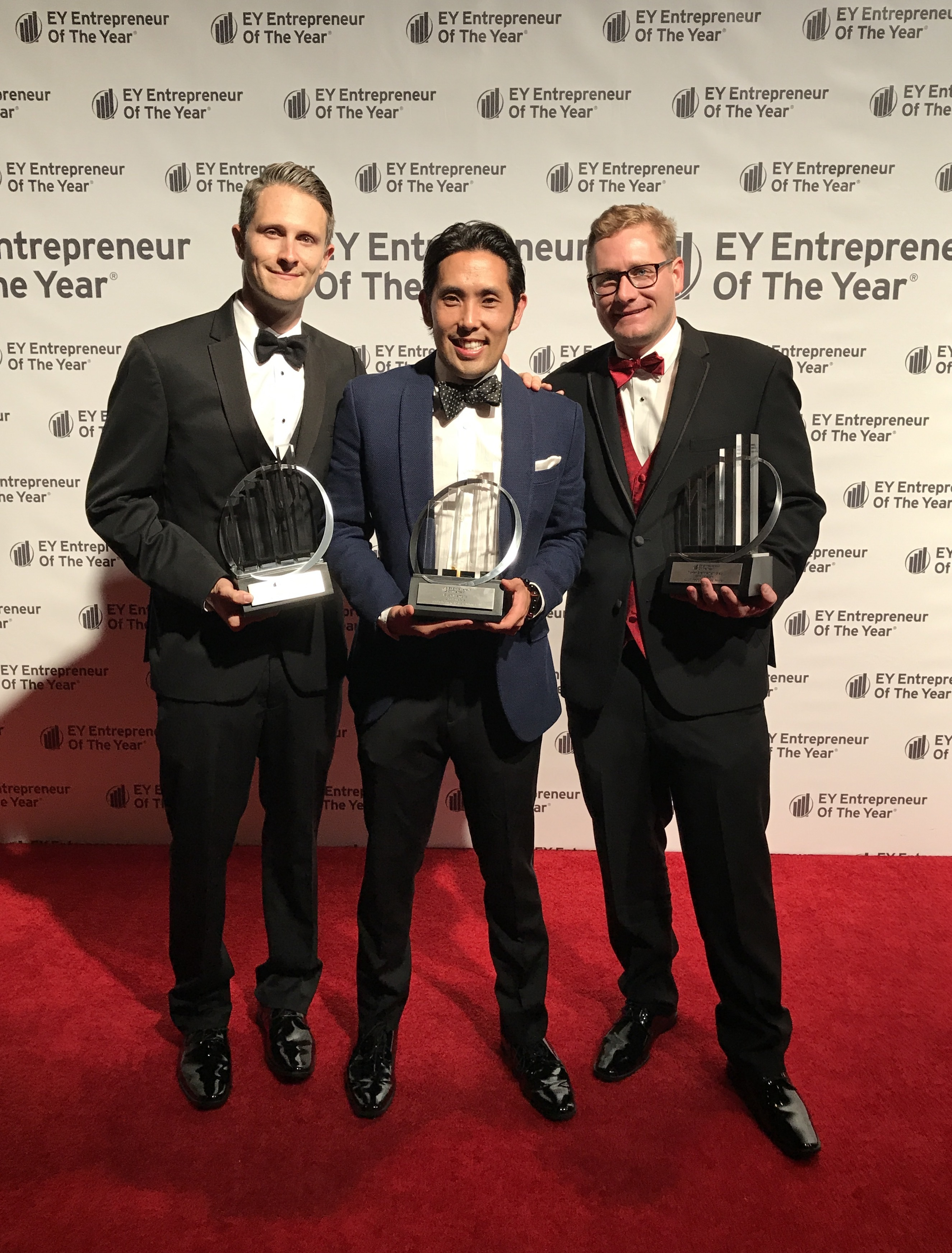 From left to right: Tyner Brenneman-Slay, Co-Founder and Chief Operating Officer, Ryan Iwamoto, Co-Founder and Chief Marketing Officer, and David Allerby, Co-Founder and Chief Executive Officer, accept their awards at the Greater Los Angeles Awards Gala at The Beverly Hilton. (Photo: Business Wire)