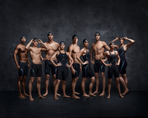 L-R: Cullen Jones, Kevin Cordes, Nathan Adrian, Elizabeth Beisel, Ryan Murphy, Katie Meili, Conor Dwyer, Hali Flickinger, Missy Franklin. (Becca Meyers not pictured.) (Photo: Business Wire)