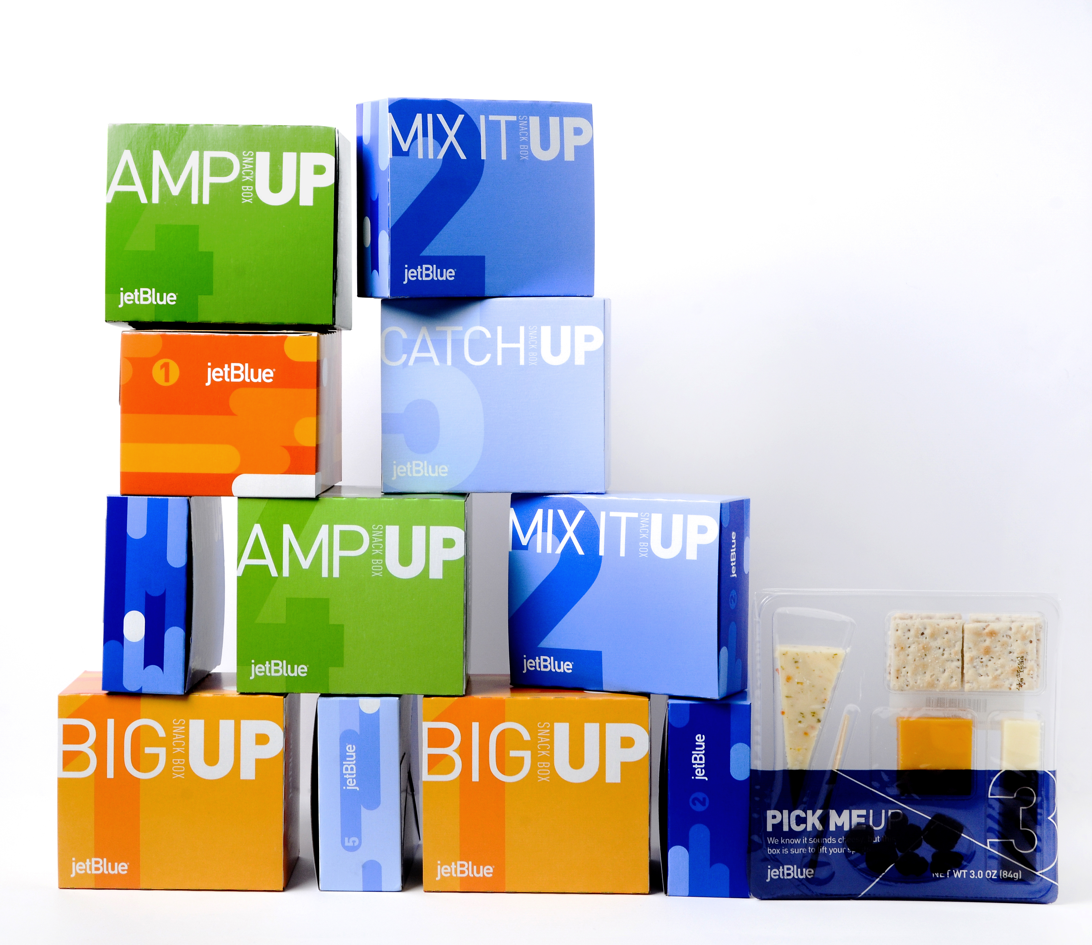 JetBlue's new EatUp Box collection: AmpUp, MixItUp, BigUp, CatchUp (Photo: Business Wire)