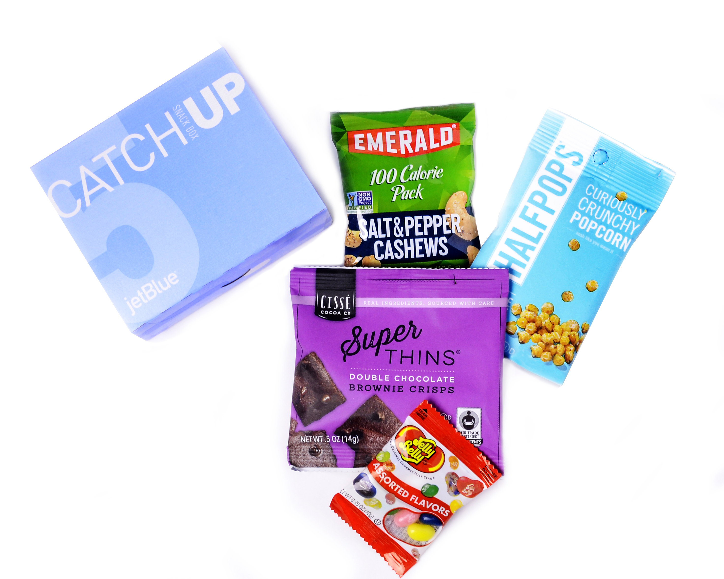 JetBlue's new CatchUp box: Catch up on your favorite shows and the latest blockbusters with these encore-worthy treats, including Emerald® salt and pepper cashews, Halfpops® crunchy popcorn, Cissé Cocoa® brownie crisps and Jelly Belly® jellybeans. (Photo: Business Wire)