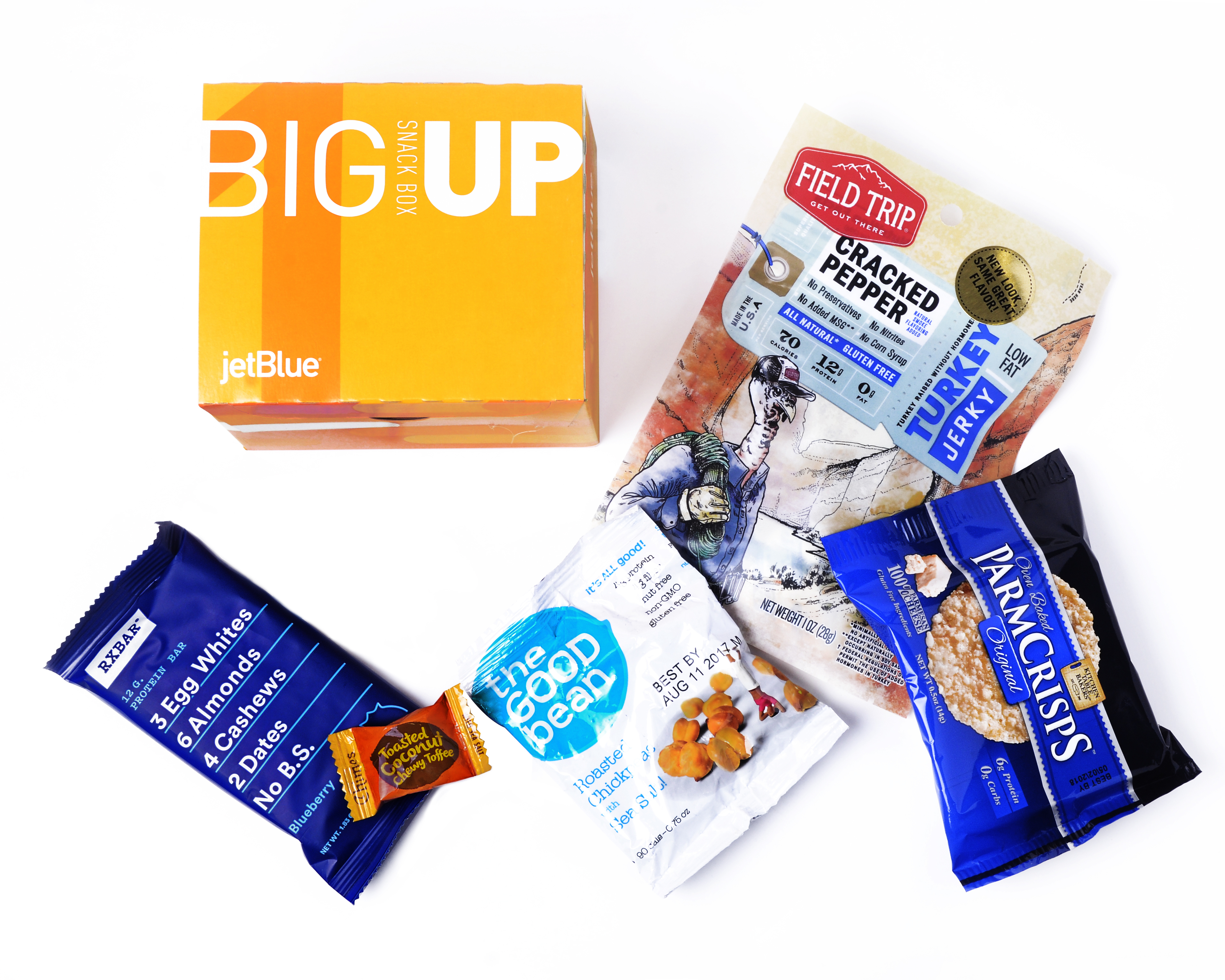 JetBlue's new BigUp Box: This protein-packed selection sends hunger pangs packing with an RXBAR® bar, coconut toffee candy, Field Trip® turkey jerky, roasted chickpeas and parmesan cheese crisps. (Photo: Business Wire)