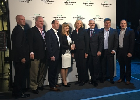Accenture receives HPE 2017 Global System Integrator Alliance Partner of the Year award (left to right) Eric Brown, Accenture Managing Director, HPE Alliances/JI; Chip McCullough, Accenture Director, HPE Alliances CTO; Greg Roberts, Accenture Managing Director, HPE Alliances Sponsor and HPE Global CAL; Melissa Besse, Accenture Managing Director, HPE Global Alliances Lead; Meg Whitman, HPE CEO and President, Antonio Neri, HPE Executive Vice President and General Manager, Enterprise Group; Oliver Suinat, HPE Senior Vice President, Global Industries & Strategic Alliances; Olan Kenneally, Accenture Managing Director, HPE Client Account Lead (Photo: Business Wire)