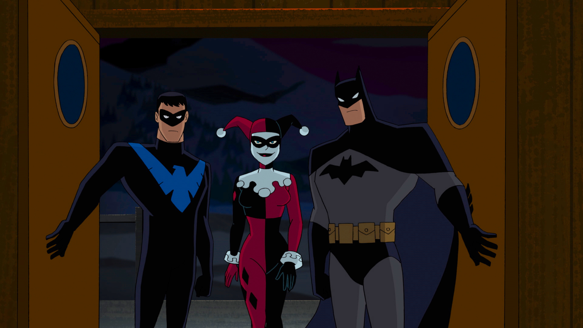 Nightwing, Harley Quinn and Batman. BATMAN and all related characters and elements are trademarks of ©DC Comics. (s17)