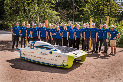 The Belgian Punch Powertrain Solar Team unveil entry for the Bridgestone World Solar Challenge that is coated in specially-developed colors from Axalta's Cromax. (Photo: Axalta)