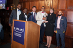 Scholars from the Kaplan Educational Foundation present Brown University president Christina Paxson with the Foundation's College Partner Award recognizing the university's extraordinary efforts at welcoming community college students from all backgrounds to transfer into the Brown community and achieve their educational goals. (From L to R: Godwin Boaful, Norbesida Bagabila, Christian Arturo, Alberto Alberto, Christina Paxson, and Edemir Castano.)
