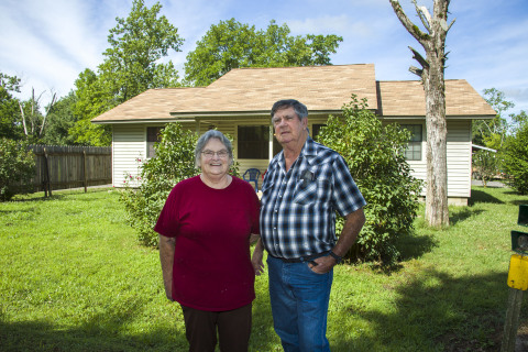 A retired heavy equipment operator received a $5,000 SNAP grant from River Town Bank and FHLB Dallas for home repairs. (Photo: Business Wire)