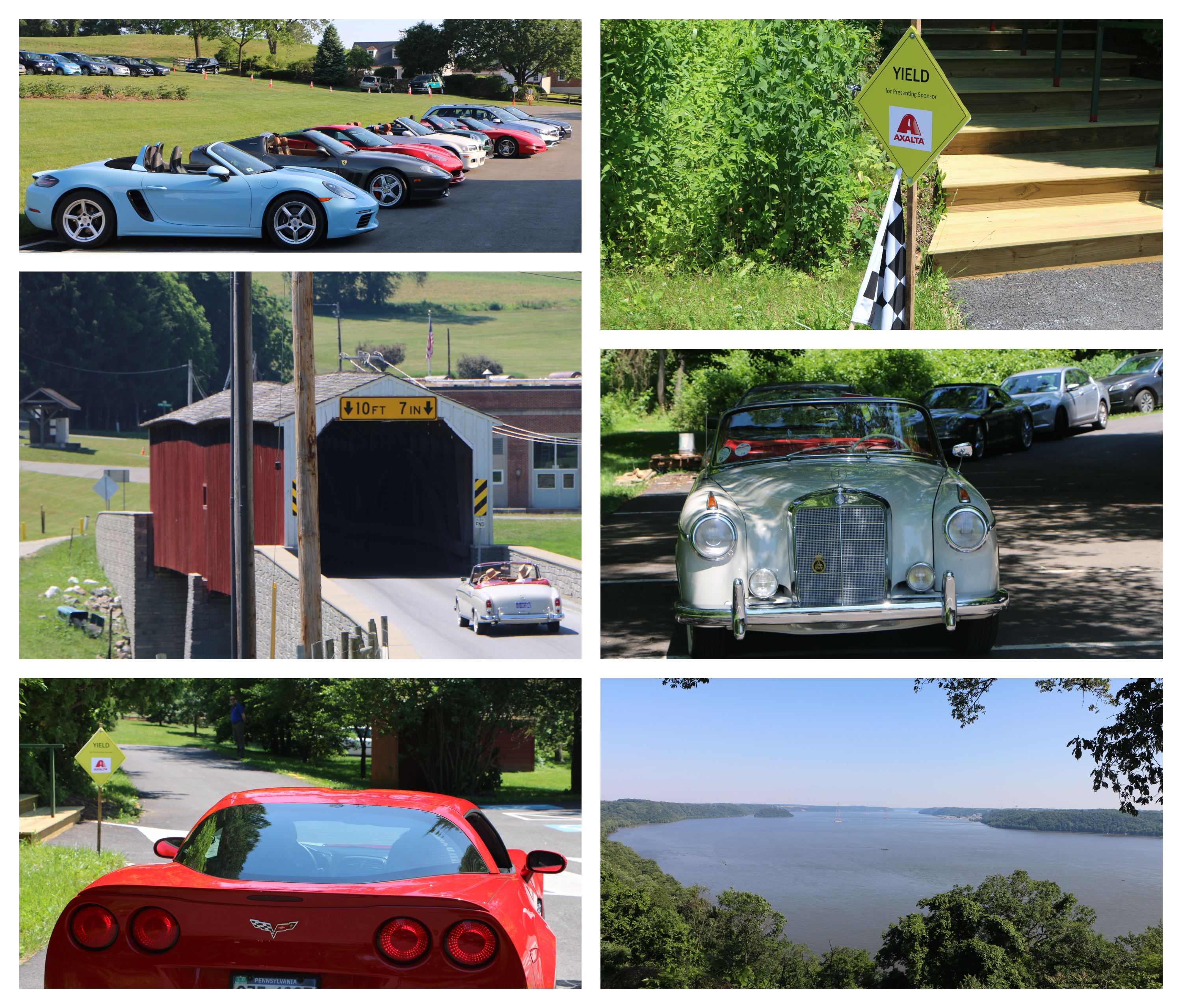 Drivers of modern and classic cars took in idyllic southeastern Pennsylvania scenery, including Lancaster County covered bridges and the Hawk Point Overlook of the Susquehanna River at Susquehannock State Park. (Photo: Axalta)