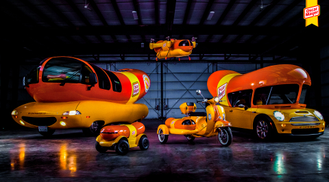 The WienerCycle and WienerDrone will join the iconic Wienermobile, WienerRover, and WienerMini to ensure hot dog fans everywhere have a chance to try the new Oscar Mayer Hot Dogs - now with no added nitrates or nitrites (except those naturally occurring in celery juice), and no artificial preservatives in their meat. (Photo: Business Wire)