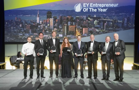2017 Northern California Entrepreneur Of The Year Award winners at the black tie gala in San Jose. (From left to right) Rami Elghandour, President and CEO - Nevro Corp; Eric Wu, Founder and CEO – Opendoor; Sam Shank, CEO – HotelTonight; Kara Goldin, CEO - hint Inc.; George Kurtz, President and CEO – CrowdStrike; René Lacerte, CEO and Founder - Bill.com; Thomas Siebel, CEO, Chairman, and Founder - C3 IoT; Mike Burkland, President & CEO - Five9. (Photo: Business Wire)