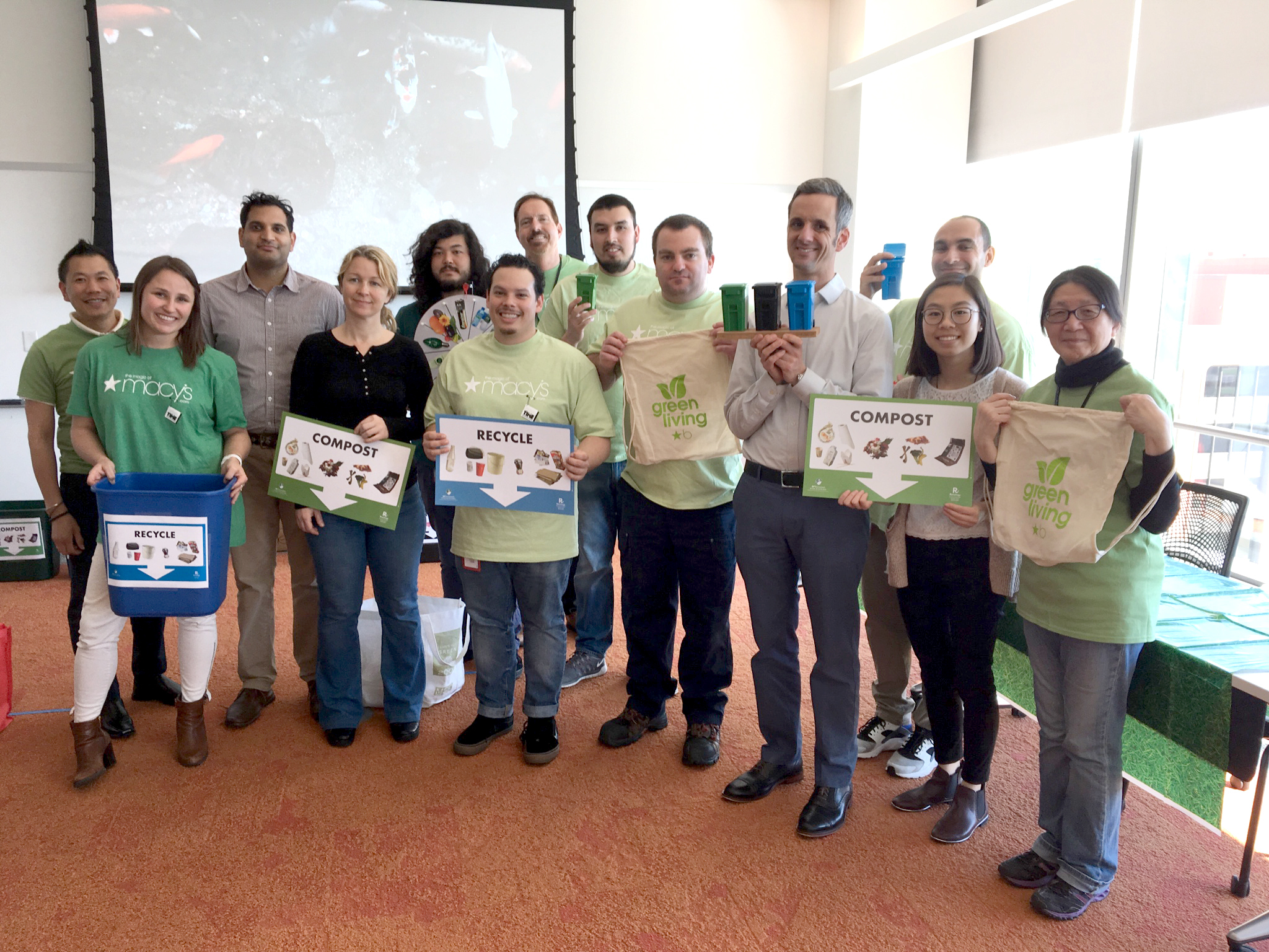 """San Francisco: The new macys.com Go Green Employee Resource Group took root with events such as """"Wheel of Trash,"""" a trash sorting challenge, education on recycling and waste management and a cleanup project in nearby Union Square. (Photo: Business Wire)"""