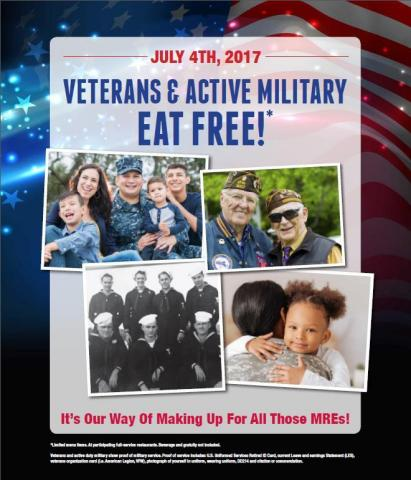 Veterans & Active Duty Eat FREE (Photo: Business Wire)