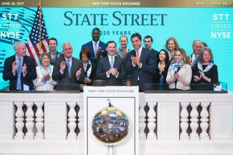 State Street Chairman and CEO Jay Hooley rings New York Stock Exchange closing bell with clients and colleagues to celebrate the firm's 225th anniversary. Photo Credit: NYSE