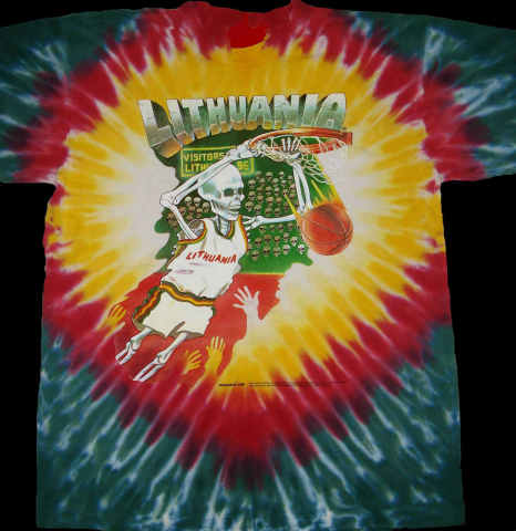 Greg Speirs' 1992 Lithuanian Tie Dye Skullman ® basketball uniforms became forever part of Lithuania folklore. Original 1992 Lithuanian Tie Dye ® Jerseys are available from Skullman.com (1992 Copyright © & ® Trademarks of Greg Speirs / Licensor.) (Photo: Business Wire)