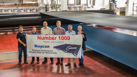 Xerium Celebrates Shipment of 1000th Huycon Process Belt for Nonwoven Fabrics Production from Gloggnitz, Austria Facility (Photo: Business Wire)