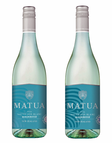 "Matua's ""Chill Check"" thermal ink label reveals a Ta Moko and darkens when the wine reaches optimal serving temperature. (Photo: Business Wire)"