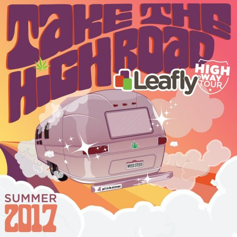 To travel in style, the Leafly team has customized a vintage 1968 Airstream trailer, which will make its way across the West Coast chock full of fresh cannabis educational content and entertainment, interactive activities, and special guest appearances. (Graphic: Business Wire)