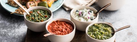 NEW Sauces - Greek Tzatziki; Italian Salsa Verde; Israeli Skhug; Moroccan Harissa (Photo: Business Wire)