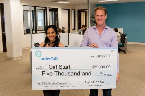 Meera V. Angus, Girlstart; Patrick Eldon, CEO of orderTalk, Inc. (Photo: Business Wire)