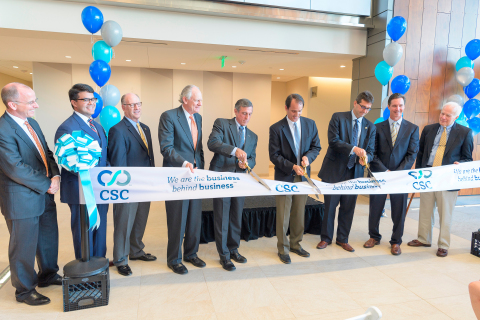 CSC ribbon cutting with Senator Gregory Lavell, Senator Anthony Delcollo, Rich Hefron, former Governor Mike Castle, Delaware Governor John Carney, CSC CEO Rod Ward, New Castle County Executive Matthew Meyer, Treasurer Ken Simpler, CSC's Dan Butler (Photo: Business Wire)