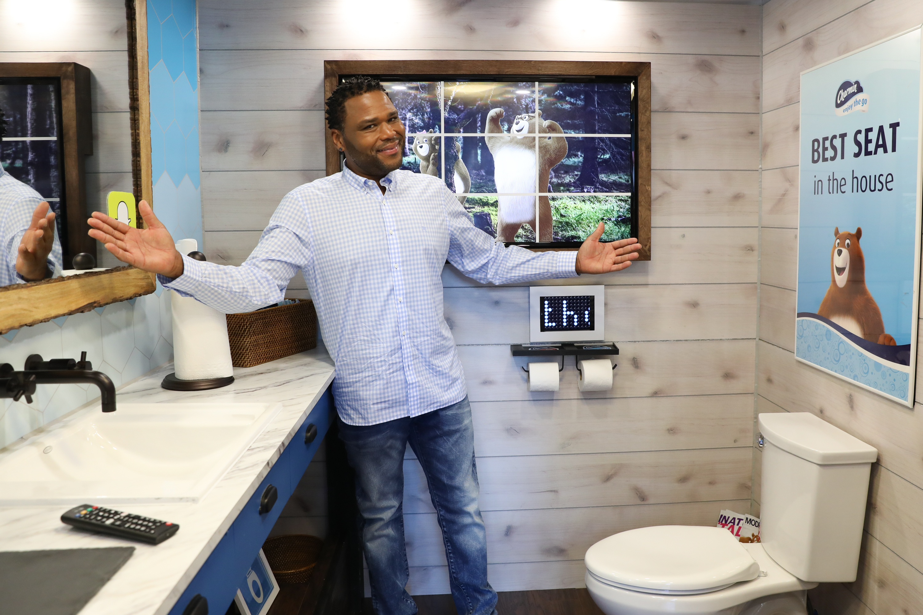 black-ish star Anthony Anderson shows off the best seat in New York City on Wednesday, June 21, 2017. Charmin piloted the first-ever on-demand bathroom service, Charmin Van-GO. (Amy Sussman/AP Images for Charmin)