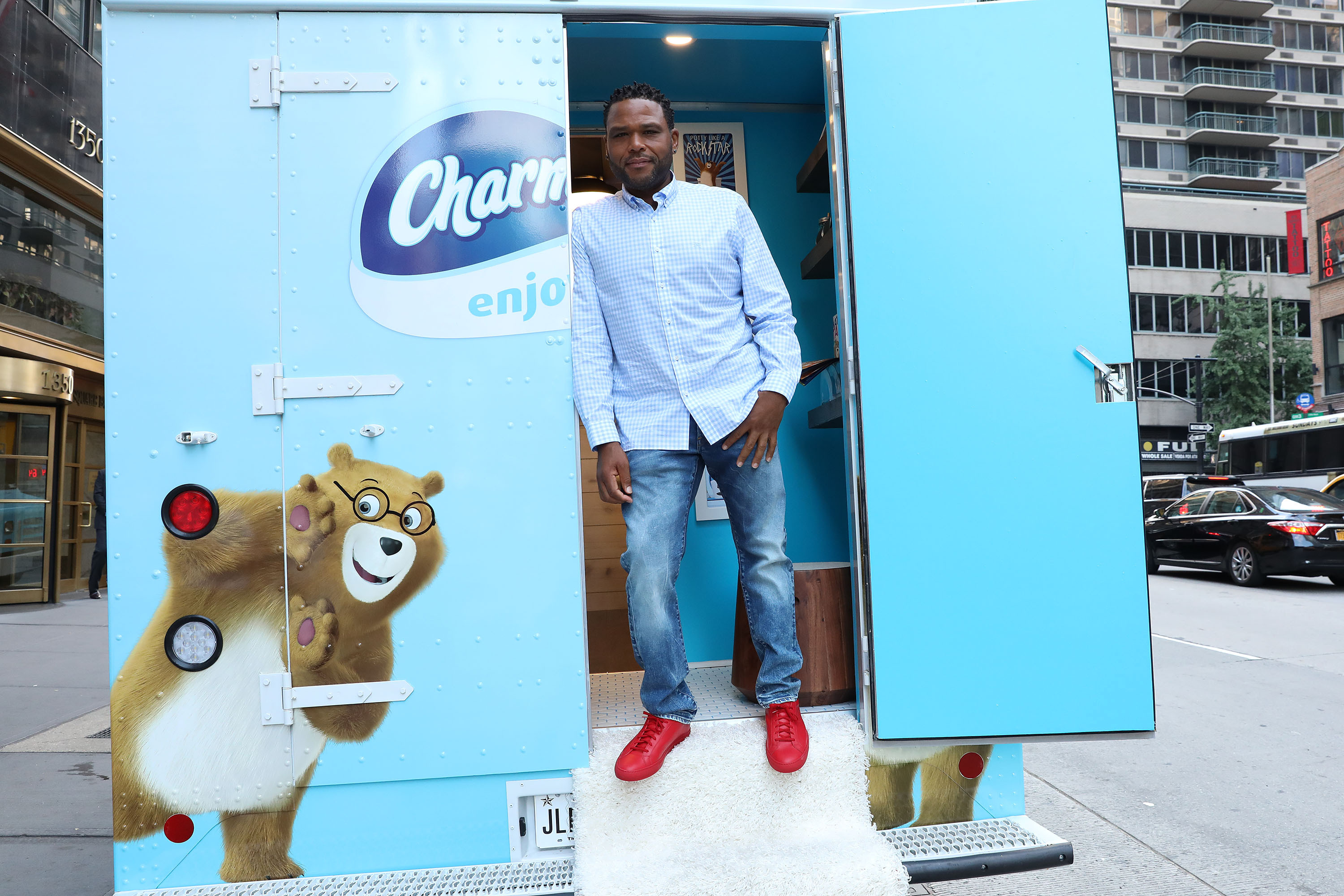 Charmin and black-ish star Anthony Anderson unveils Charmin Van-GO, a totally private and super clean bathroom, on Wednesday, June 21, 2017 in New York. (Amy Sussman/AP Images for Charmin)