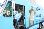black-ish star Anthony Anderson rolls through the streets of New York City in a Charmin Van-GO, the first-ever on demand mobile bathroom service on Wednesday, June 21, 2017. (Amy Sussman/AP Images for Charmin)