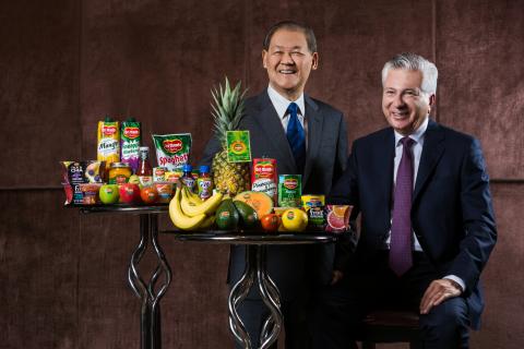 Del Monte Pacific's Chairman Rolando C. Gapud and Fresh Del Monte Produce's Chairman and CEO Mohamma ...