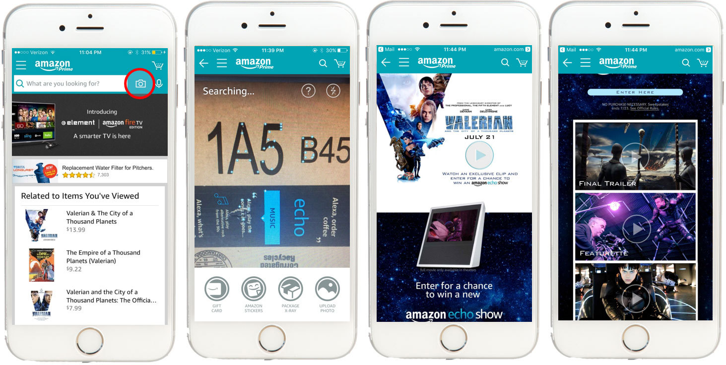 Unlock exclusive VALERIAN content by pointing the camera search feature within the Amazon App at most Amazon boxes. (Photo: Business Wire)