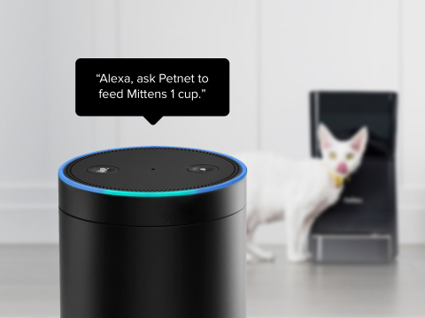 """SmartFeeder and Amazon Echo or Echo Show users can simply say """"Alexa, ask Petnet to feed Mittens 1 cup,"""" and food is dispensed. (Photo: Business Wire)."""