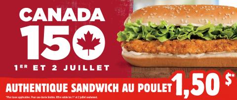 Les Restaurants Burger King® Au Canada Lancent La Promotion Authentique Sandwich Au Poulet À 1,50 $ Pour Souligner Le Canada 150 (Photo:Business Wire)