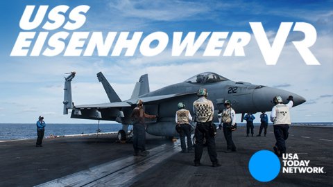 The USA TODAY NETWORK presents 'USS Eisenhower VR', a VR interactive transporting viewers to the aircraft carrier during full combat training. (Graphic: Business Wire)