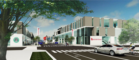 Artist rendering of planned multi-tenant research facility on West Nobel Street (Source: USD Discovery District First Building cGMP Study)