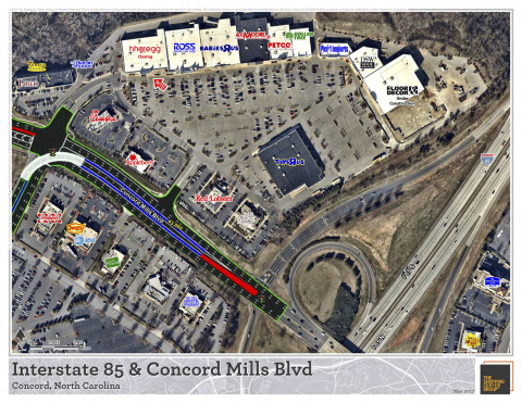 This map was created for a site tour for a client that is new to the Carolinas. The area shown is opposite from Concord Mills, an outlet mall and a top tourist attraction in the state, and is a highly desirable area with new construction to show. Nearmap allows TSCG to refresh the imagery and provide a more accurate representation of the current as-built status of an area. (Photo: Business Wire)