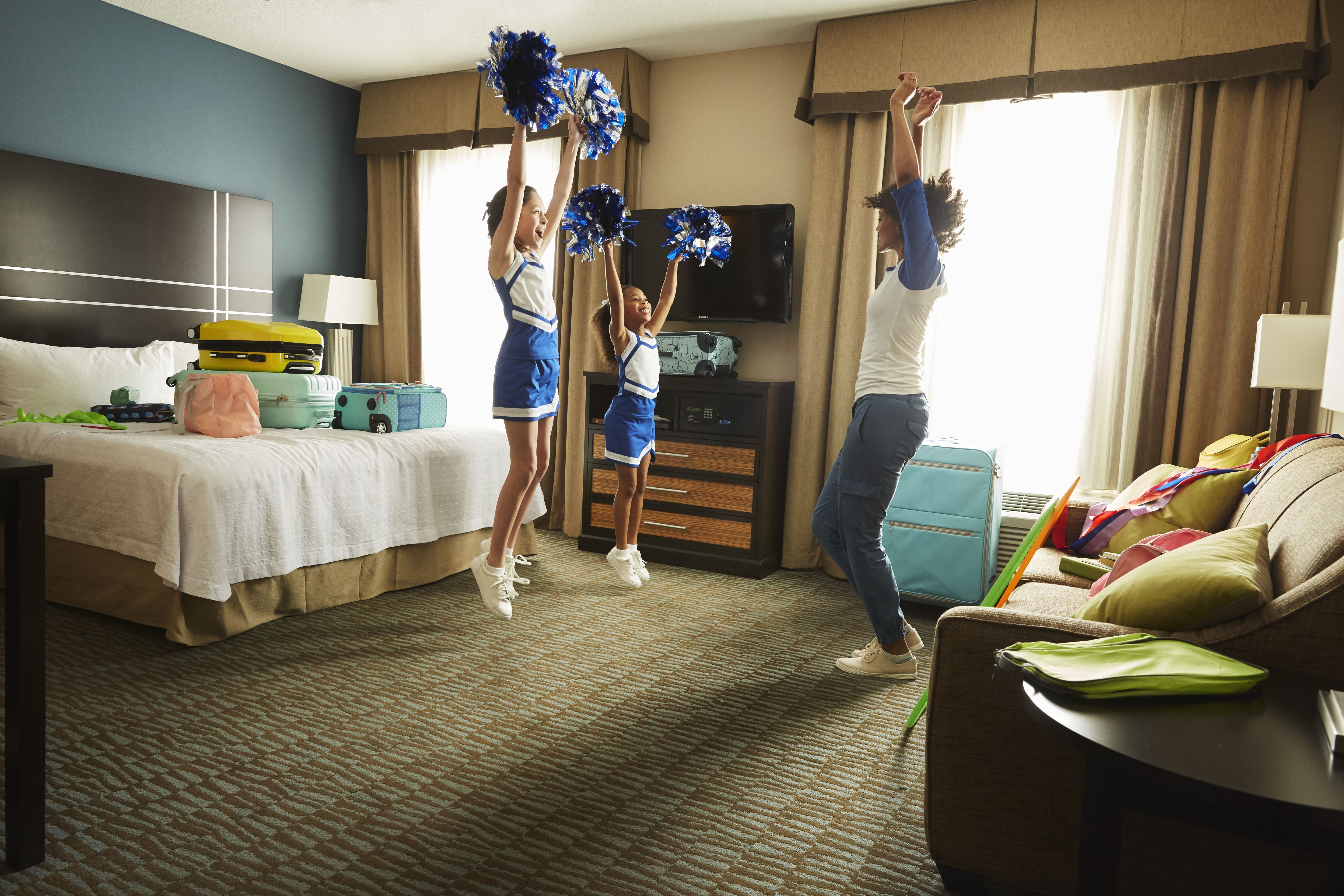 Traveling and spending a night in a hotel with teammates is an exciting part of the youth sports experience.(Photo: Business Wire)