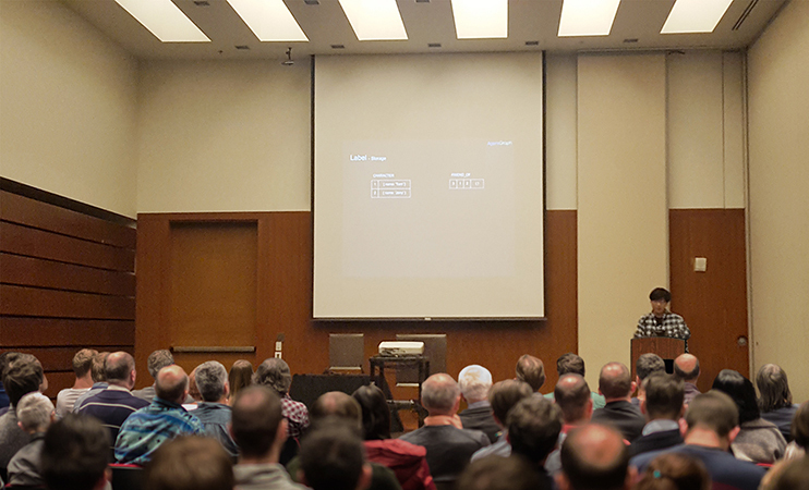 Bitnine Sr. Research Engineer Presenting AgensGraph (Photo: Business Wire)