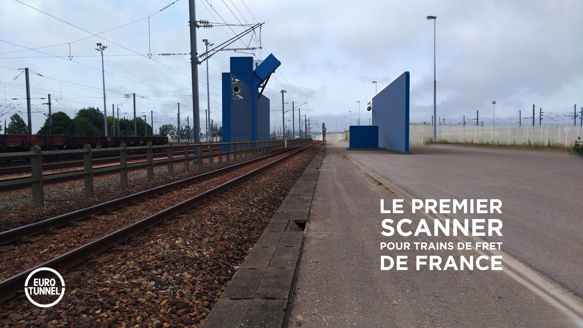 Projection 3D du futur Scanner pour train de Fret - Calais Fréthun - Copyright Eurotunnel