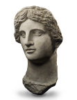 HEAD OF A GODDESS OR A QUEEN Greek, Late Classical –Early Hellenistic, 4th -3rd century B.C. Marble H: 48.3 cm (no restoration) Formerly in the collection of Countess von Gleichen (1833-1912), England PUBLISHED BOULANGER A., Tête féminine provenant d'Égypte, in Revue archéologique 19, 1912, pp. 110ff, figs. 1-3 (Photo: Business Wire)