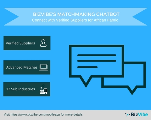 BizVibe Enhances its Platform with a Revolutionary Matchmaking Chatbot for the African Textiles and Fabrics Industry (Graphic: Business Wire)