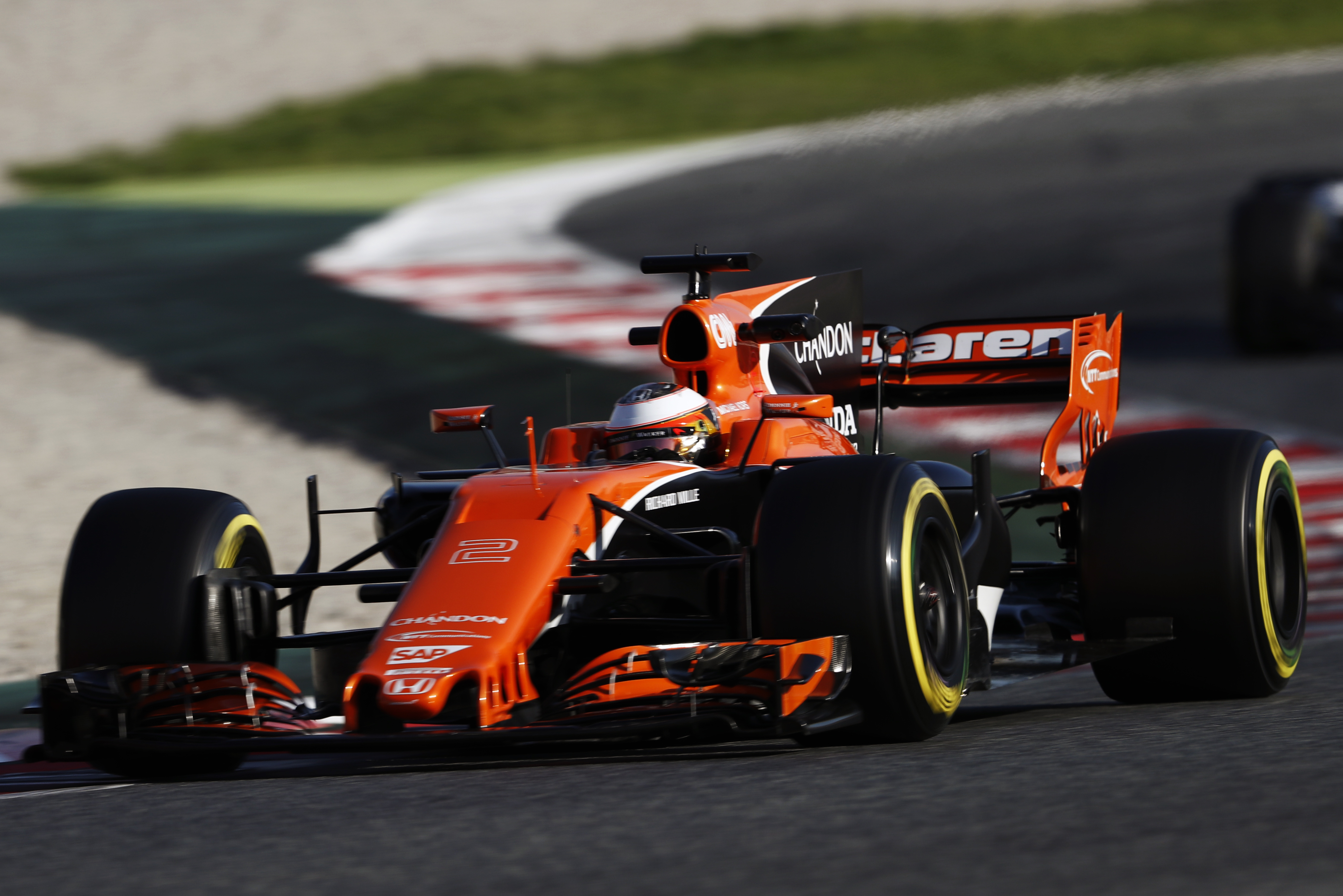 McLaren MCL32 2017 race car featuring numerous Stratasys 3D printed parts to improve car performance (Photo: Business Wire)