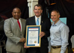 In recognition of investment in the New Orleans Mission, (at left) Julius Feltus, representing New Orleans District B Councilmember LaToya Cantrell, presented a proclamation from the city to Fifth District Savings Bank President and CEO Brian North and New Orleans Mission Executive Director David Bottner on June 29, 2017. The bank, in partnership with the Federal Home Loan Bank of Dallas, has awarded $1 million in Affordable Housing Program grants to the Mission since 2013. (Photo: Business Wire)