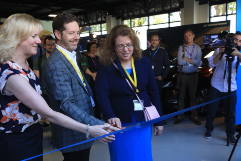Intel's Kathy Winter, (from left) Doug Davis and Patti Robb cut the entrance ribbon, officially opening Intel's Silicon Valley Center for Autonomous Driving in San Jose, California, on May 3, 2017. (Credit: Intel Corporation)