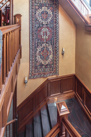 Claremont Rug Company clients are increasingly displaying antique Oriental rugs such as this High-Collectible, mid-19th century Caucasian Seichur Kuba tribal rug hung in a stairwell as wall art. (Photo: Business Wire)