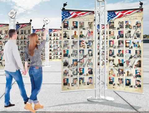 """Omaha, Nebraska-based non-profit Patriotic Productions invites America to support content of the """"Remembering Our FallenTM"""" traveling memorial to honor every U.S. service member who has died serving our nation beyond our borders since September 11, 2001. To be comprised of 30 to 40 Tribute Towers when completed, the national memorial will be unveiled at the Lincoln Memorial in Washington, D.C., on September 7, 2017. (Photo: Business Wire)"""