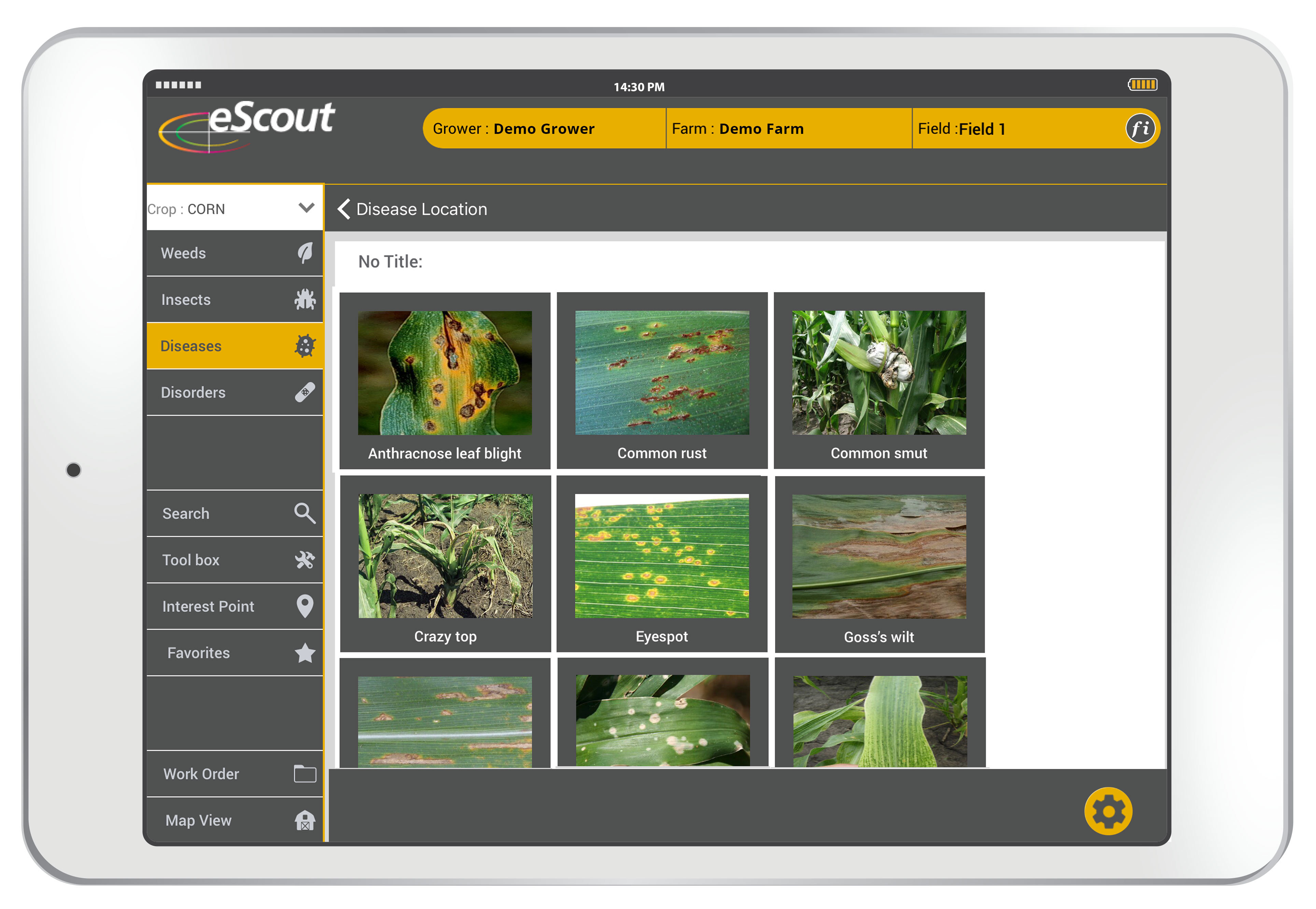 Equipped with tools to monitor and address field conditions, eScout generates real-time reports, integrates with agronomy software, and provides users with high-quality scouting information. (Graphic: Business Wire)